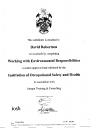 David Robertson\'s - Working with environmental responsibilities - Institution of Occupational Saftey and Health - training certificate